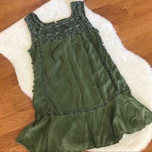Free People Boho 100% Silk Green Tunic